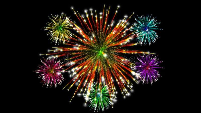 Новый Год феиэрверков дисплея принципиальной схемы торжества цветастое стоковое изображение
