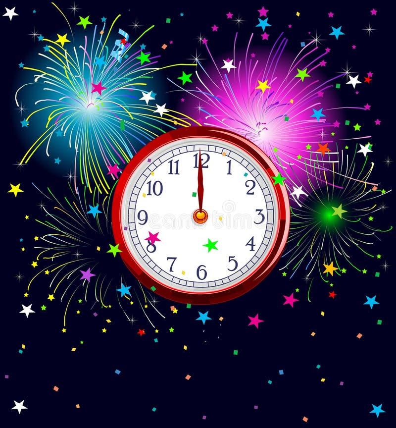 Новый Год часов иллюстрация вектора