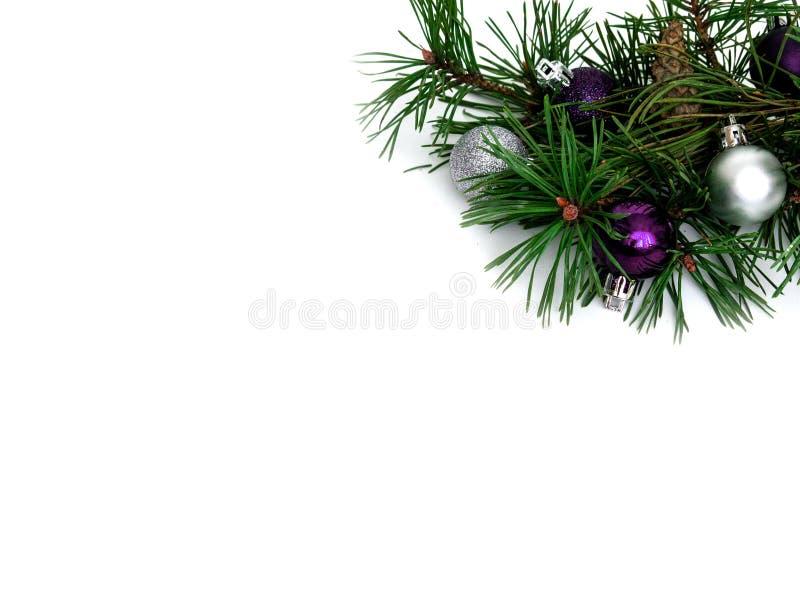 Новый Год, шарики рождества, ветви сосны стоковая фотография