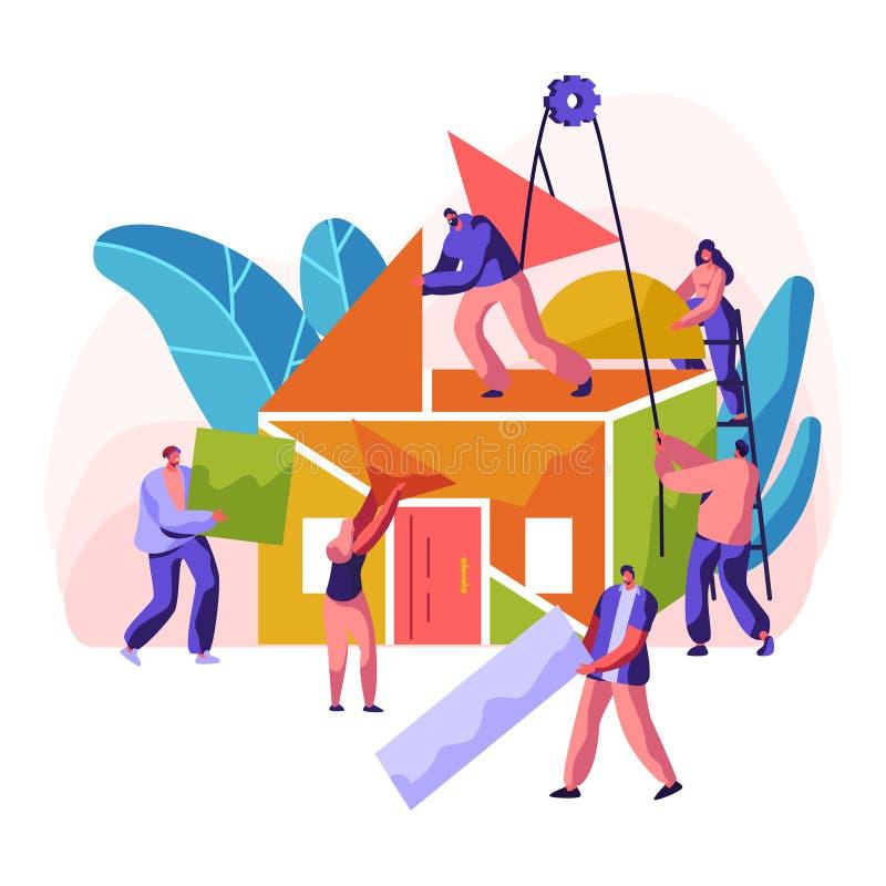 Новый дом конструкции Профессиональная резиденция стройки характера Стена картины, кладя кирпич и строя потолок и крышу иллюстрация штока
