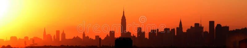 новый заход солнца york стоковое изображение
