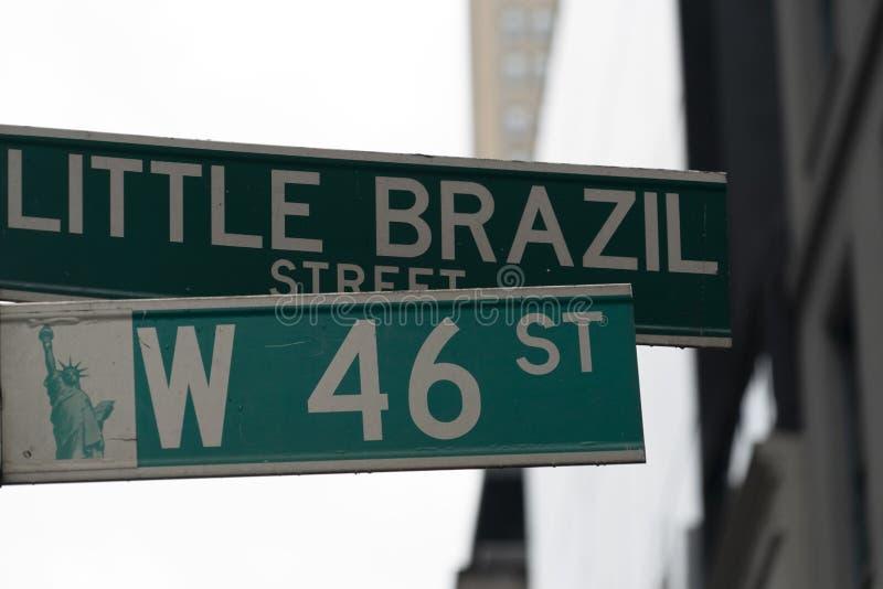Новый знак 'маленького бразил-стрит' стоковое изображение