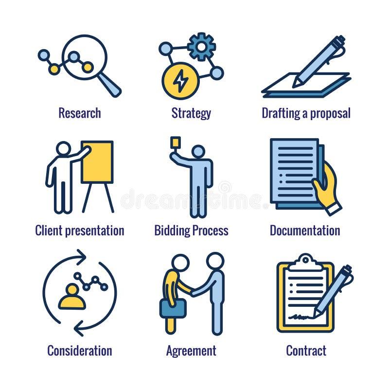 Новый значок бизнес-процесса установил с торгами, предложением, контрактом иллюстрация вектора