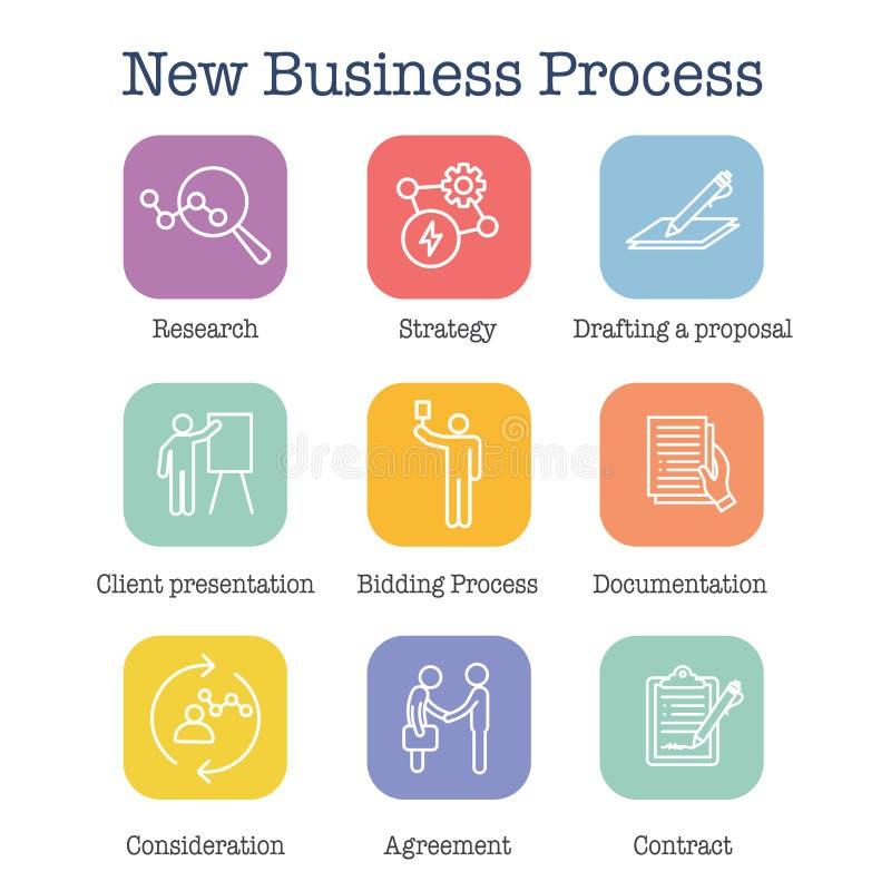 Новый значок бизнес-процесса установил с торгами, предложением, контрактом бесплатная иллюстрация