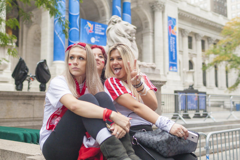 Новый Йорк США, 6-ое октября: Польские люди во время национального Demonst стоковые изображения