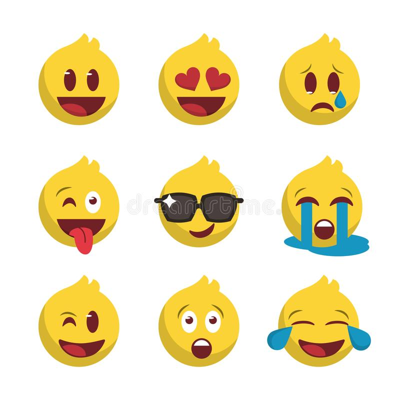 Новый набор значка emoji иллюстрация вектора