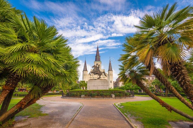 Новый Орлеан, Луизиана, США на квадрате Джексона стоковая фотография rf