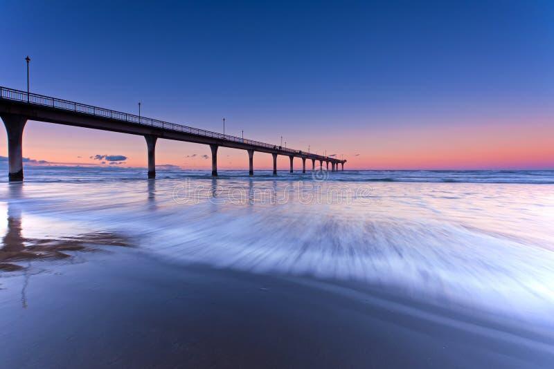 Новый пляж Брайтона в Крайстчёрче Новой Зеландии стоковое изображение rf
