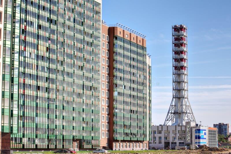 Новый промышленный завод боилера газа, дом топления района стоковое изображение