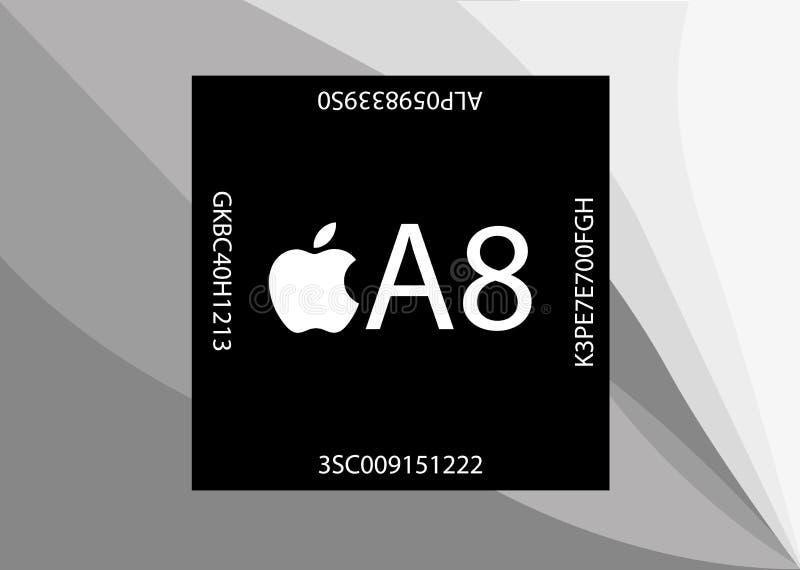 Новый процессор Яблока A8 иллюстрация вектора