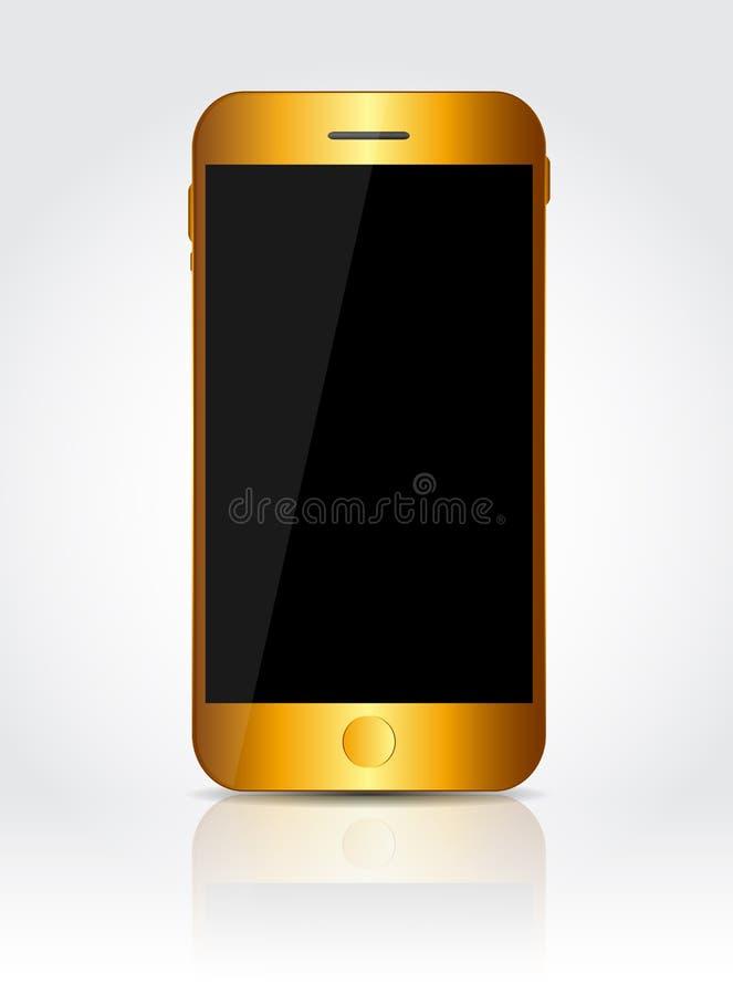 Новый реалистический мобильный телефон золота с черным экраном иллюстрация вектора