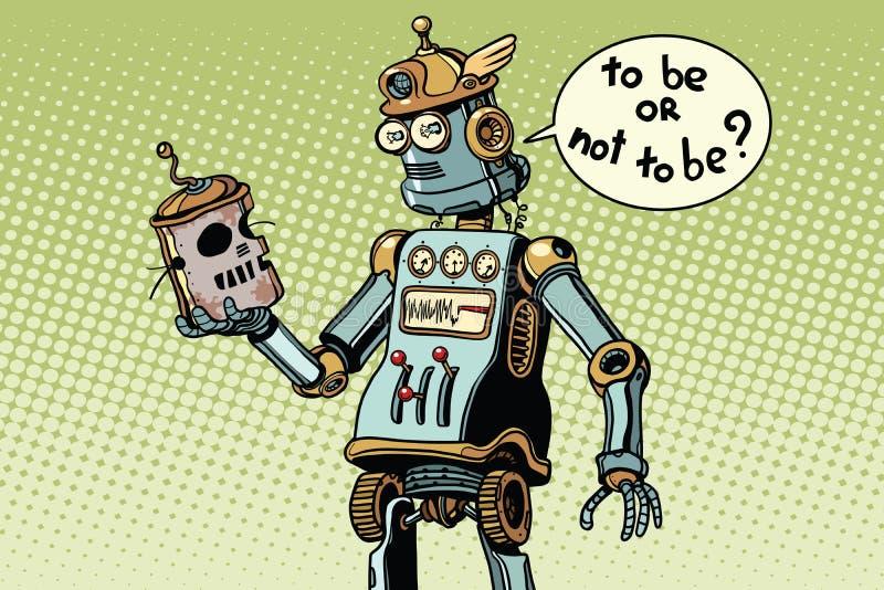 Новый робот смотрит череп своей предшественницы, технического progr бесплатная иллюстрация