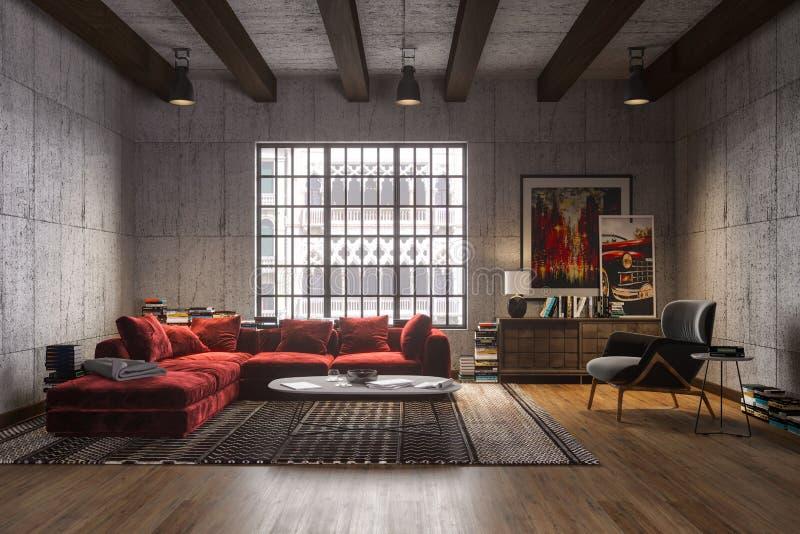 Новый роскошный интерьер просторной квартиры с красной софой бархата иллюстрация штока
