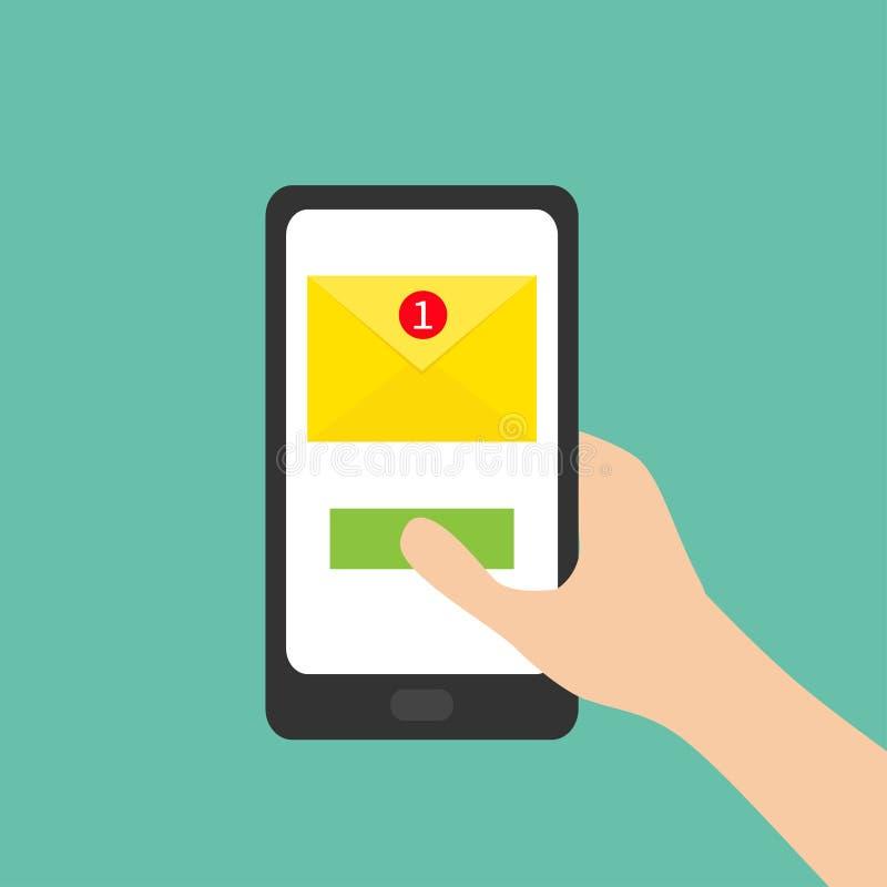 Новый символ знака сообщения Непрочитанное уведомление удерживание руки банка предпосылки замечает smartphone Устройство таблетки бесплатная иллюстрация