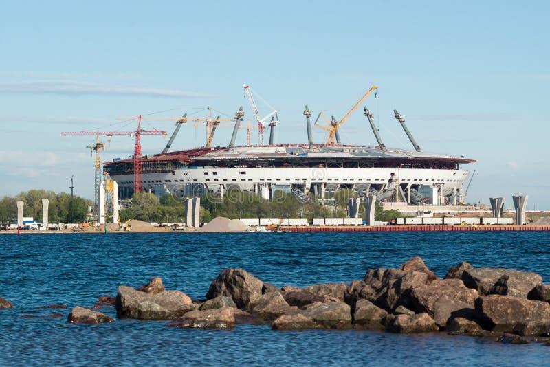 Новый стадион Zenit в конструкции стоковое фото rf