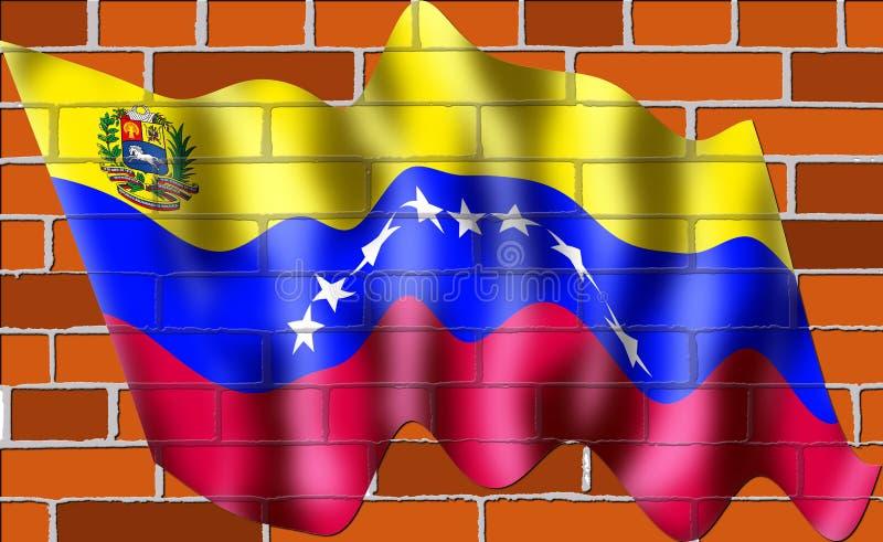 Новый флаг Venzuelan на стене кирпичей с 8 пятиконечными звездами иллюстрация штока