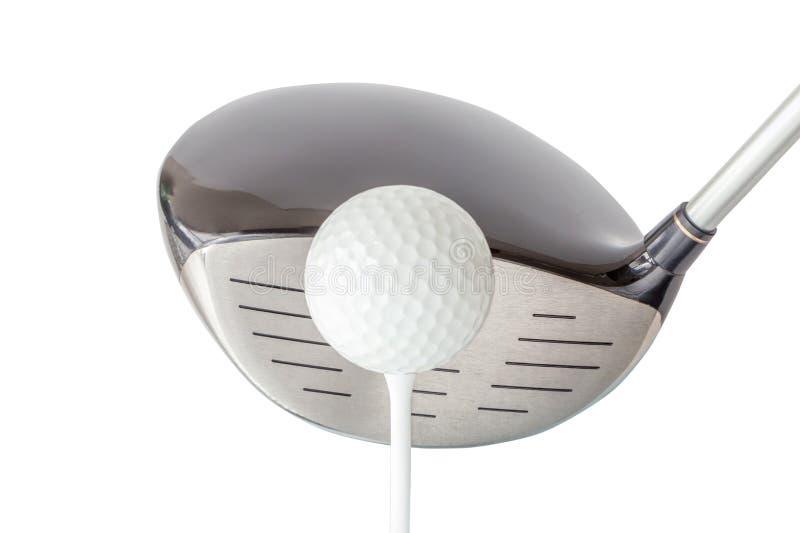 Новый шар для игры в гольф на тройнике с сияющим черным клубом водителя на белом b стоковые фото