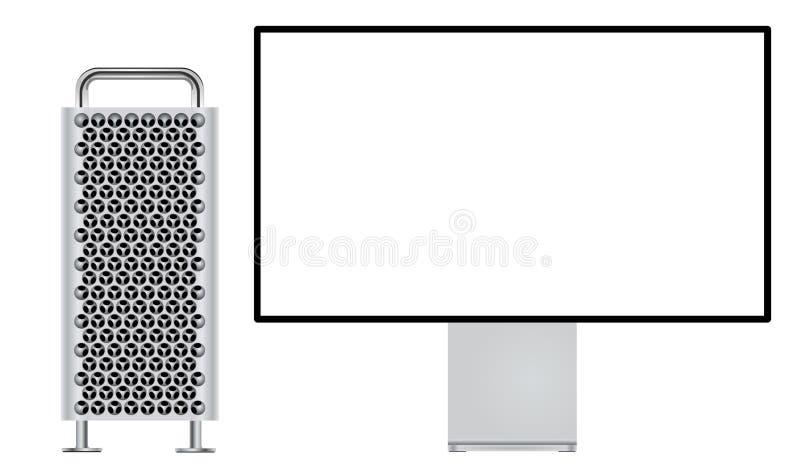 Новый Mac Pro с дисплеем сетчатки 6K иллюстрация штока