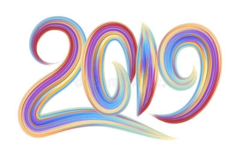 2019 Новых Годов красочного элемента дизайна каллиграфии литерности масла brushstroke или акрила также вектор иллюстрации притяжк иллюстрация вектора
