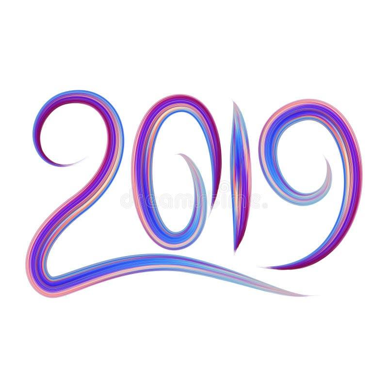 2019 Новых Годов красочного элемента дизайна каллиграфии литерности масла brushstroke или акрила также вектор иллюстрации притяжк бесплатная иллюстрация