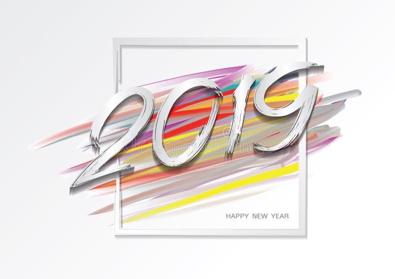 2019 Новых Годов красочного brushstroke с рамкой, С Новым Годом! дизайн карты, шаблон знамени сети, плакат, открытка бесплатная иллюстрация