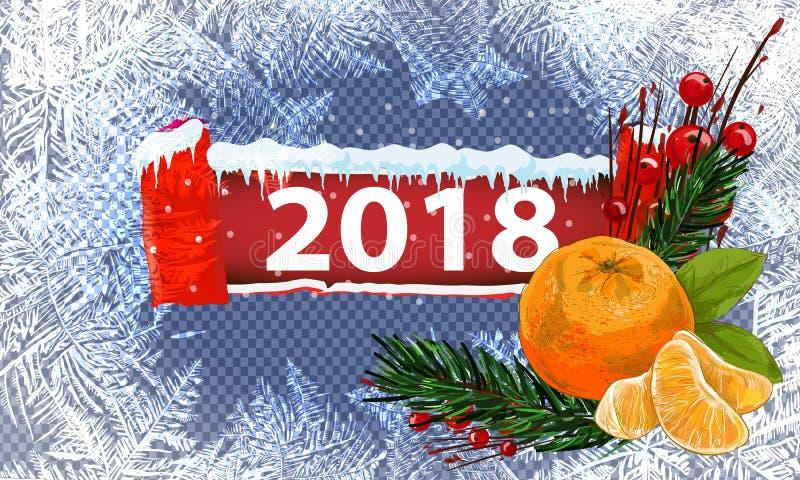 2018 Новых Годов на предпосылке замороженной льдом Глобальные цветы Один editable градиент использован для легкого recolor иллюстрация штока