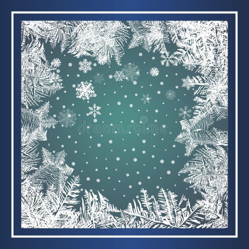 2018 Новых Годов на предпосылке замороженной льдом Глобальные цветы Один градиент использован для легкого recolor иллюстрация штока