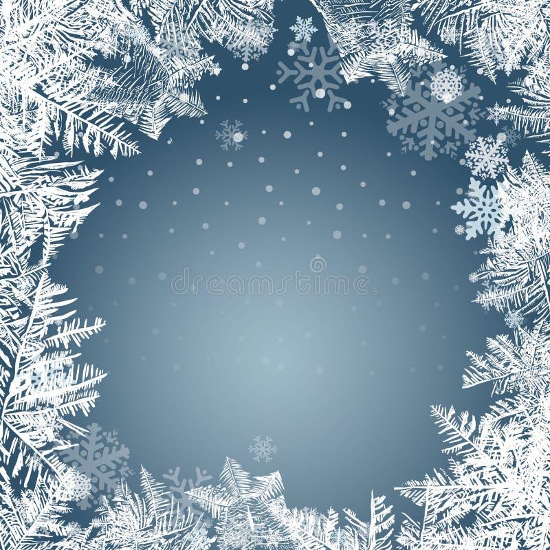 2018 Новых Годов на предпосылке замороженной льдом Глобальные цветы иллюстрация штока
