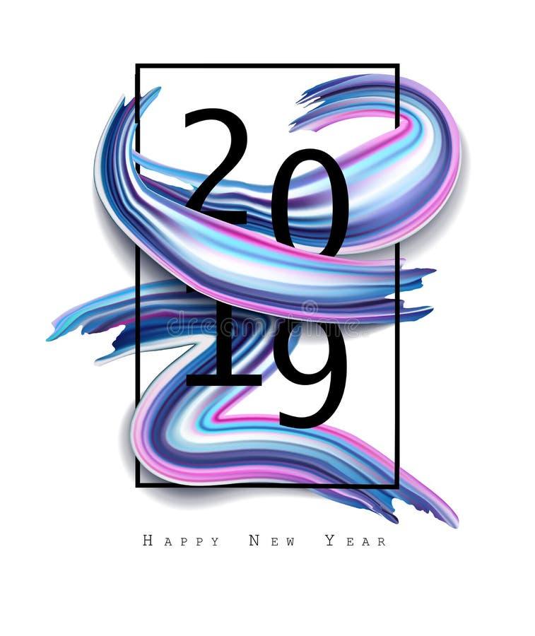 2019 Новых Годов на предпосылке красочного элемента дизайна масла brushstroke или акрила Иллюстрация EPS10 вектора бесплатная иллюстрация