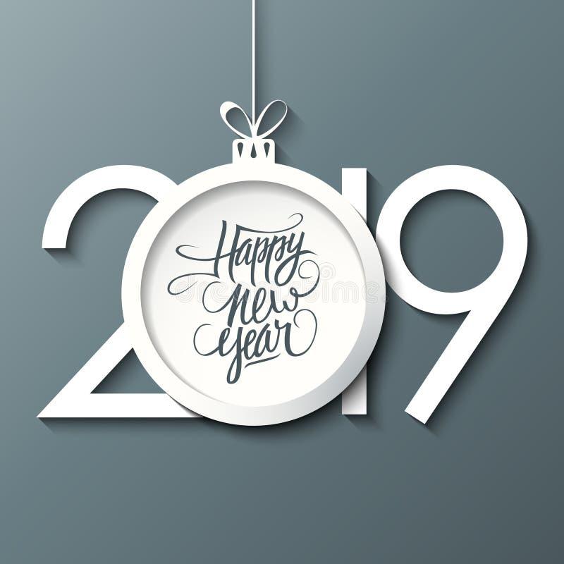 2019 Новых Годов отпраздновать карту с рукописным С Новым Годом! шариком приветствиям и рождеству праздника на серой предпосылке иллюстрация вектора