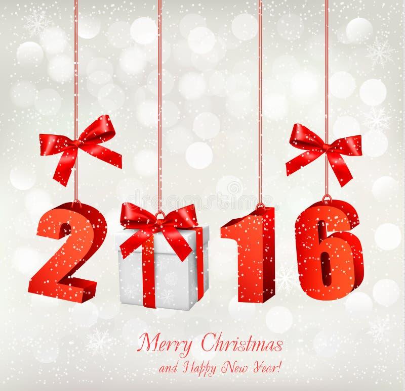2016 Новых Годов предпосылки с подарком иллюстрация штока