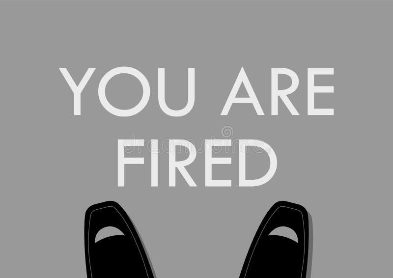 Нога бизнесмена с вами увольнятьые слова на поле иллюстрация вектора
