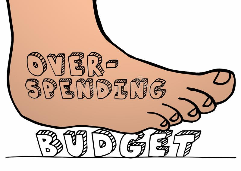Нога бюджета тратя слишком много Stomping задавливающ слово иллюстрация вектора