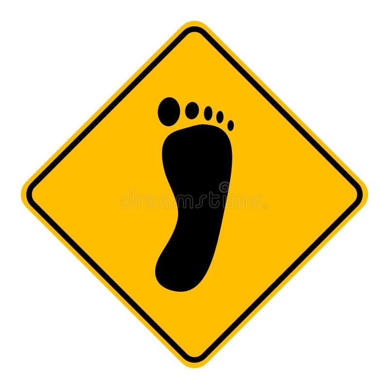 Нога и дорожный знак иллюстрация вектора
