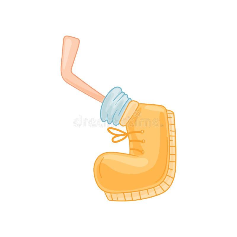 Нога мультфильма в желтом ботинке делает движение r иллюстрация вектора