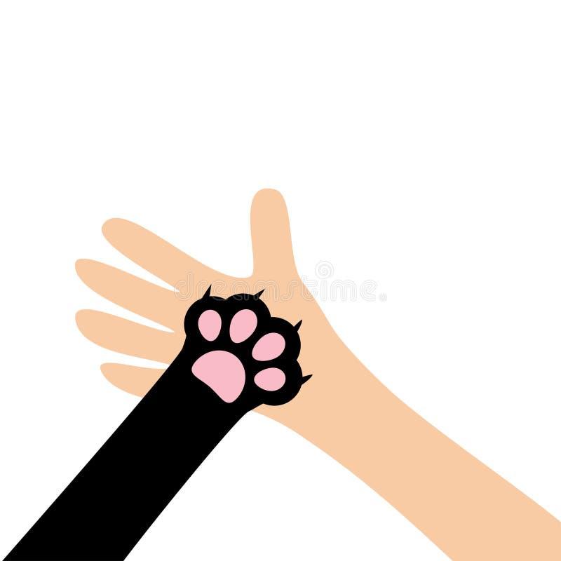 Нога ноги печати лапки собаки кота удерживания руки руки конец вверх Помощь принимает животный любимчика дарит концепцию навсегда иллюстрация штока