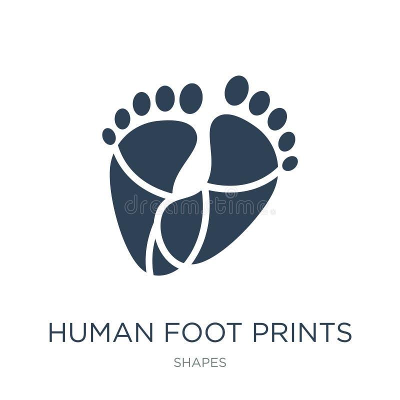 нога человека печатает значок в ультрамодном стиле дизайна значок печатей ноги человека изолированный на белой предпосылке нога ч иллюстрация штока