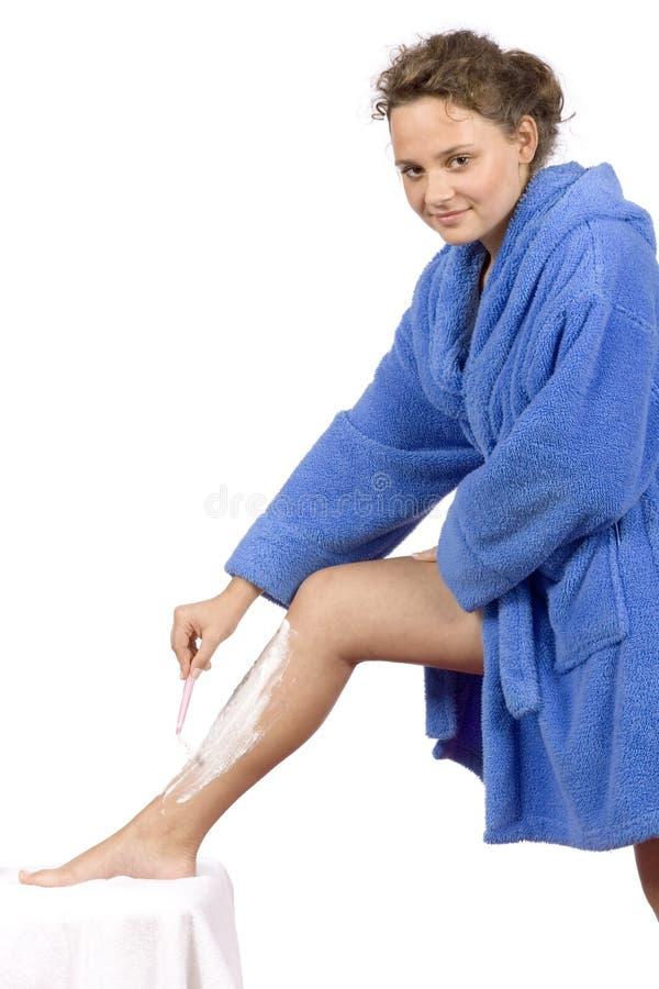 нога bathrobe голубая одетьнная брея детенышей женщины стоковое фото rf