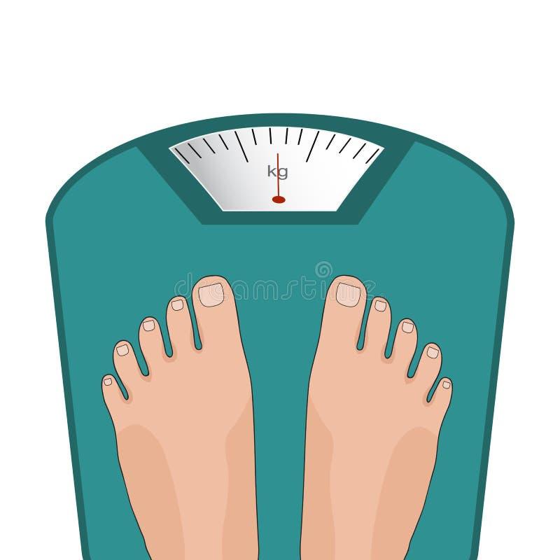 Ноги вектора на масштабе Концепция потери веса бесплатная иллюстрация