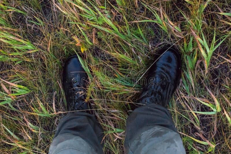 Ноги во влажных черных ботинках армии и зеленые брюки хлопка в точке зрения gonzo травы осени ухудшающейся стоковое фото rf