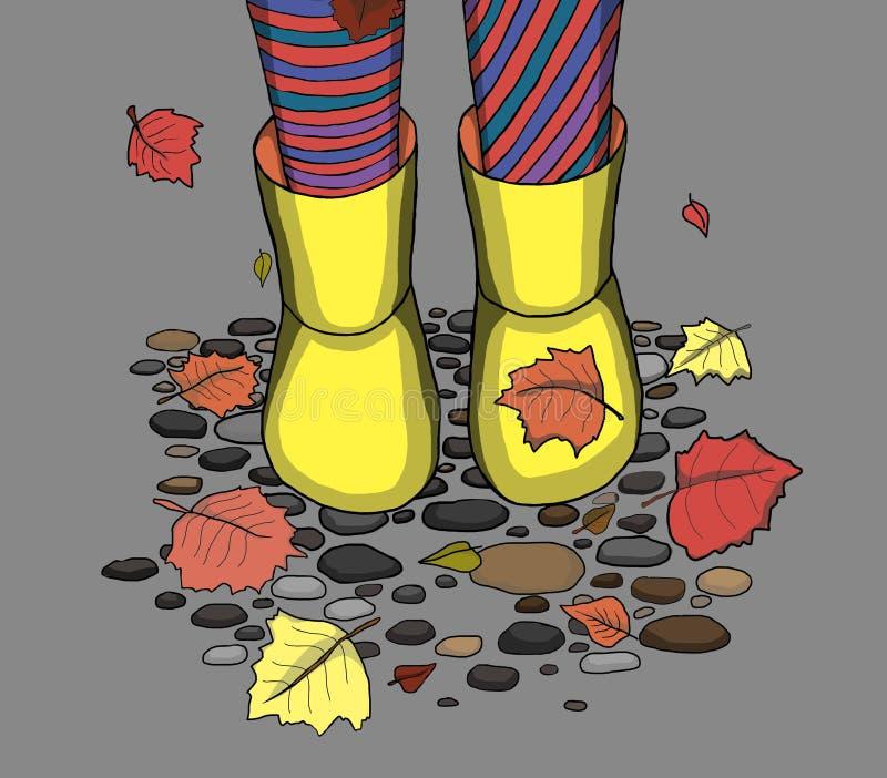 Ноги в резиновых ботинках стоковые фото