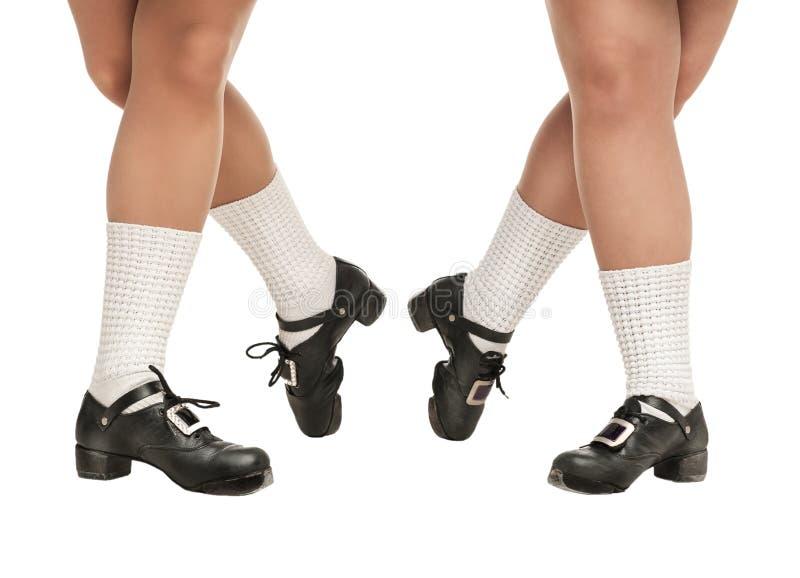 Ноги в трудных ботинках для ирландских танцев стоковые изображения rf