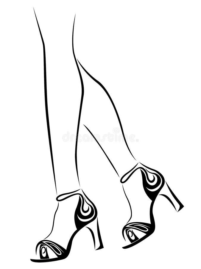 Ноги грациозных женщин в абстрактных ботинках бесплатная иллюстрация