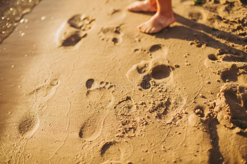Ноги детей стоят на пляже Ноги младенца в песке Предпосылка пляжа лета Концепция праздников летнего времени стоковое фото