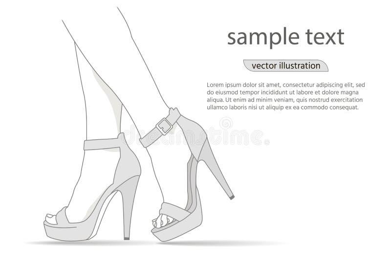Ноги женщины в ботинках высоких пяток моды Иллюстрация способа Девушка вектора в высоких пятках иллюстрация вектора