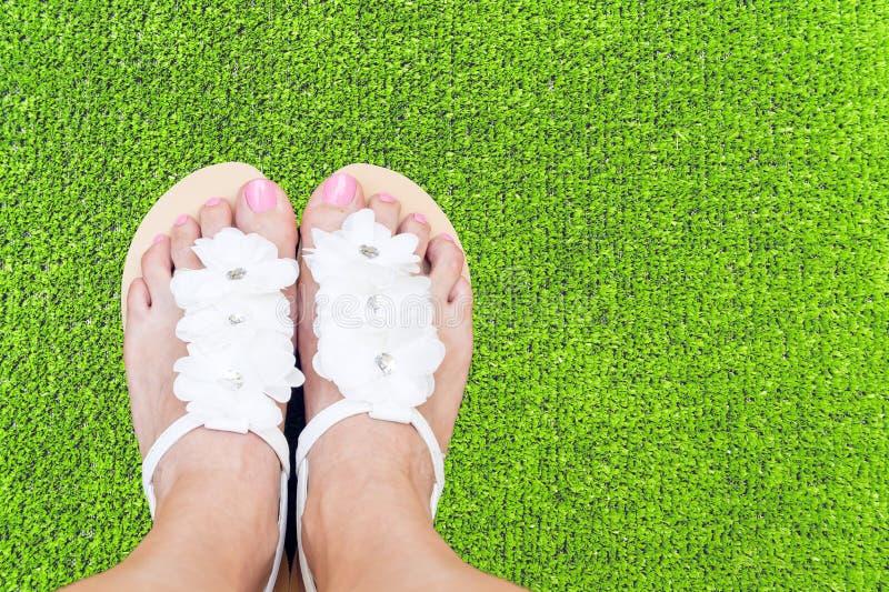 Ноги женщины на траве стоковые фотографии rf
