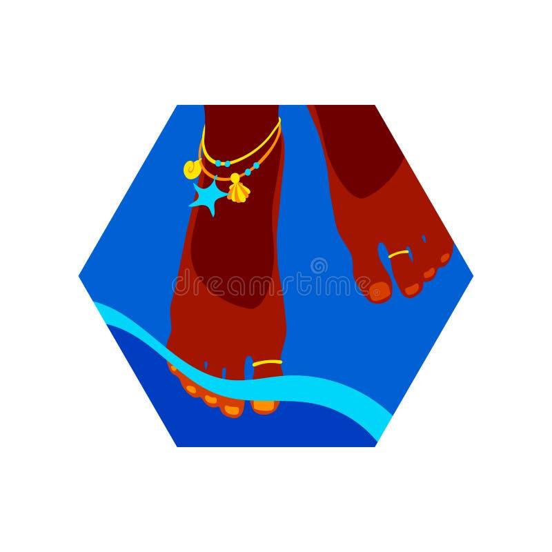 Ноги женщин украшенные с кольцами и браслетами в надвигающийся прибрежной волне Иллюстрация вектора шестиугольника современная, d иллюстрация вектора