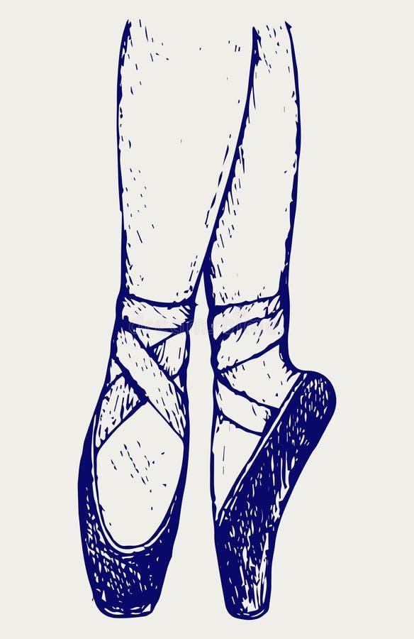 Ноги и ботинки молодой балерины иллюстрация вектора