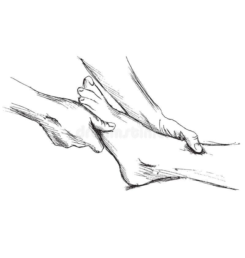 Ноги массажа эскиза руки иллюстрация вектора