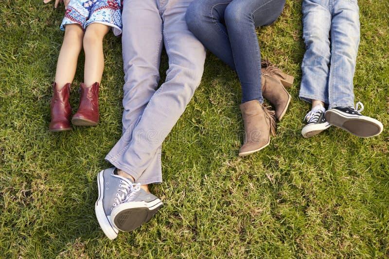 Ноги молодой семьи лежа на траве в парке, съемке урожая стоковое изображение rf